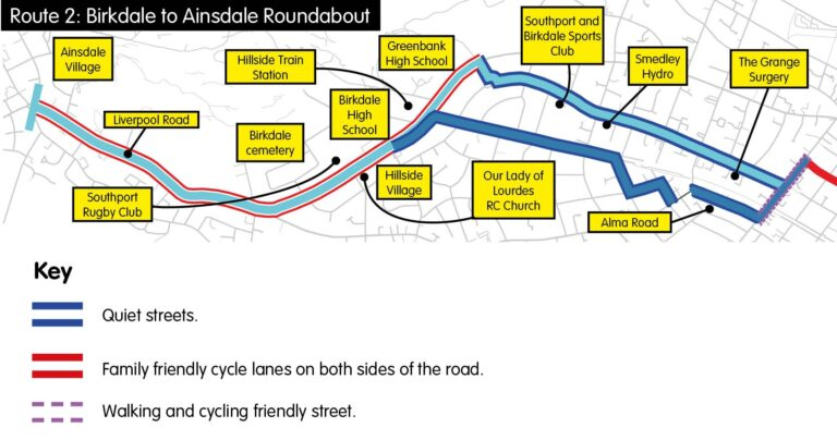 Plan of Birkdale to Ainsdale Cycle Route