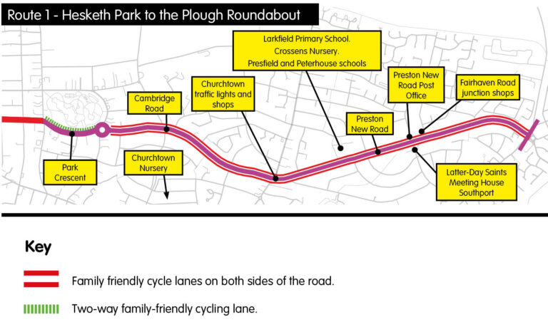 Map of Hesketh Park to the Plough cycle route