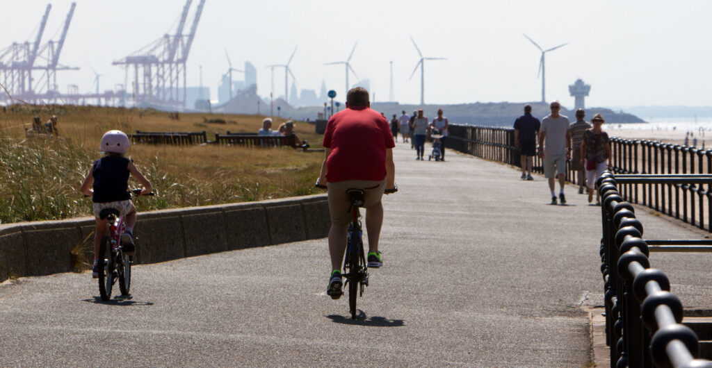 People walking and cycling in Crosby